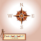 Wind rose illustration. Isolated . Element of an ancient or old style map decoration. Wind rose is a tool to guide travelers Royalty Free Stock Photo