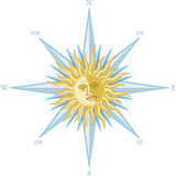 Wind rose with the image sun face Stock Photo