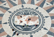 Wind rose and map in the pavement, Belem, Portugal Royalty Free Stock Photo