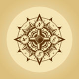 Wind rose in old retro style. Vector. Royalty Free Stock Photo