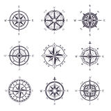 Wind rose or old, vintage compass heraldic icons Royalty Free Stock Photo