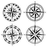 Wind rose retro design vector collection. Vintage nautical or marine wind rose and compass icons set, for travel. Navigation design Royalty Free Stock Photo