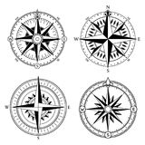 Wind rose retro design vector collection. Vintage nautical or marine wind rose and compass icons set, for travel. Navigation design Stock Image