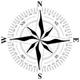 Wind rose on a stand-alone white background Stock Photo