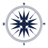 Wind rose vector illustration. Nautical compass icon isolated on white background. Royalty Free Stock Photo