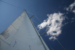 Wind in the sails. View of a wind filled sail with blue sky and fluffy white clouds, taken whilst sailing from Gothenburg harbour, Sweden Stock Image