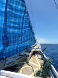 Wind in the sails. Sailing from the east of Sumbawa towards Komodo island and the Alor Archipelago royalty free stock images