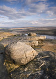 Wind shaped boulders on yorkshire moorland Royalty Free Stock Photo
