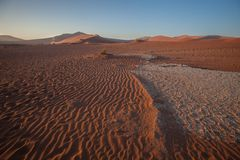 The wind shapes the sand dune, Sossusvlei, Namibia Royalty Free Stock Photo