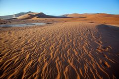The wind shapes the sand dune, Sossusvlei, Namibia Royalty Free Stock Photos