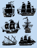 Wind ships isolated. Armada of six wind sailing ships isolated Royalty Free Stock Images