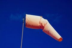 Wind sock. An airport wind sock with a blue sky Royalty Free Stock Image