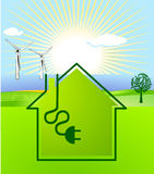 Wind-solar energy. Wind and solar energy concept Royalty Free Stock Photo