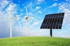 Wind and solar energy Stock Photos