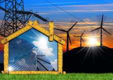 Wind and Solar Energy - Project of House Royalty Free Stock Photography