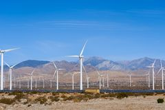 Wind and Solar Farm in the California Desert. View of a Wind Farm in the desert of California near Palm Springs royalty free stock photos