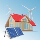 Wind solar hybrid power system, vector illustration stock illustration