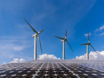 Wind and solar panel Royalty Free Stock Photos