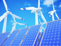 Wind and solar power Royalty Free Stock Photos