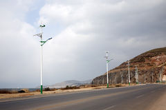 Wind and Solar Powered Street Lights. Along a highway in rural China stock photo