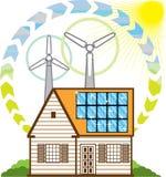 Wind Solar Small House Stock Photos