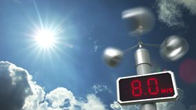 Anemometer displays 20 meters per second wind speed. Weather forecast related 3D animation