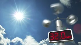 Anemometer displays 80 mph wind speed. Hurricane forecast related 3D animation