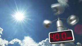 Digital anemometer displays maximum 99.9 mph wind speed. Hurricane forecast related 3D animation