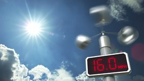 Wind speed measuring anemometer shows 40 mph. Weather forecast related 3D animation