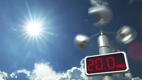 Wind speed measuring anemometer shows 50 mph. Weather forecast related 3D animation