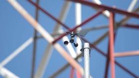 Wind speed meter and wind vane stock video footage