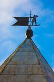 The wind spinner on the top of  tower of Pskov Kremlin Stock Photos