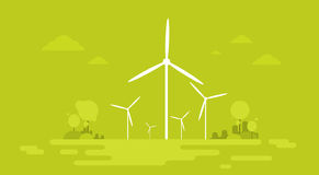 Wind Station Alternative Energy Generation Resource Nature Background Banner. Flat Vector Illustration Royalty Free Stock Photography