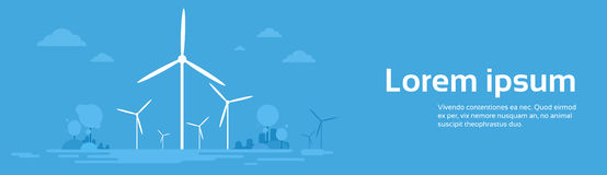 Wind Station Alternative Energy Generation Resource Nature Background Banner. Flat Vector Illustration Royalty Free Stock Photos