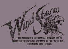 Wind storm. Purple eagle head on the floor graph Royalty Free Illustration