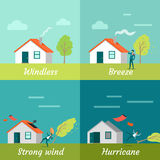 Wind Strength Levels. Windless Breeze Hurricane. Wind strength levels. Windless breeze strong wind hurricane. Set of banners with wind levels. Cottage house Royalty Free Stock Photography