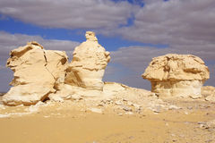 Wind and sun modeled limestones sculptures in White desert ,Egypt Royalty Free Stock Photo