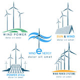 Wind and Sun Power Making Logo Royalty Free Stock Images