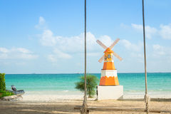 Wind and sunlight with  beautiful beach. Royalty Free Stock Images