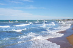Wind surf in Denia Oliva in Valencian community Mediterranean Royalty Free Stock Photo