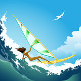 Wind surfer girl on the wave Stock Image