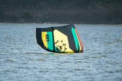 Wind surfer`s kite on the water royalty free stock photo
