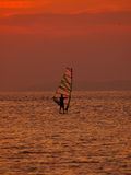 Wind surfer at sunset. One wind surfer and bird (sea gull) at wonderful sunset on calm coastal water in Adriatic sea - Croatia Dalmatia. Vertical color photo Royalty Free Stock Photography