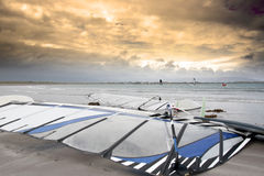 Wind surfers braving the winds Royalty Free Stock Images