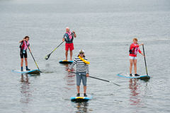 Wind surfers train in Strogino Stock Photography