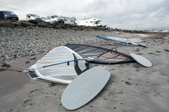 Wind surfers vans parked on the wild atlantic way in Ireland Royalty Free Stock Images