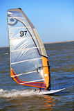 Wind Surfing. Single WindSurfer Riding The Crest of A Wave Royalty Free Stock Image