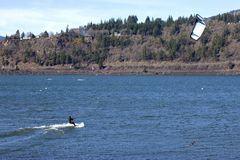 Wind surfing on the Columbia River, Hood River OR. Stock Images