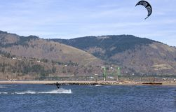 Wind surfing on the Columbia River, Hood River OR. Stock Photography