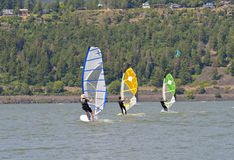Wind Surfing in Hood River Oregon. Wind surfing and water sports in Hood River Oregon royalty free stock photos